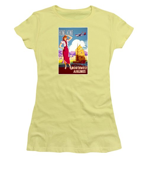 Hong Kong Vintage Travel Poster Restored Women's T-Shirt (Junior Cut) by Carsten Reisinger