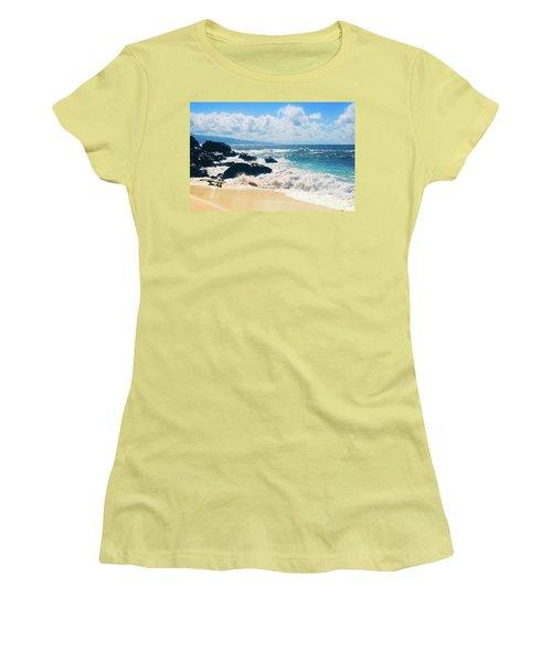 Women's T-Shirt (Junior Cut) featuring the photograph Hookipa Beach Maui Hawaii by Sharon Mau