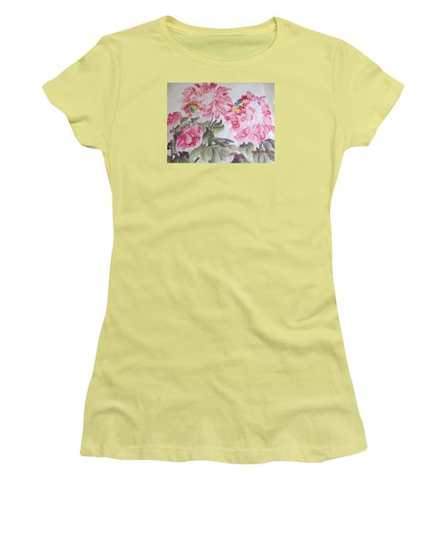 Women's T-Shirt (Junior Cut) featuring the painting Hop08012015-692 by Dongling Sun