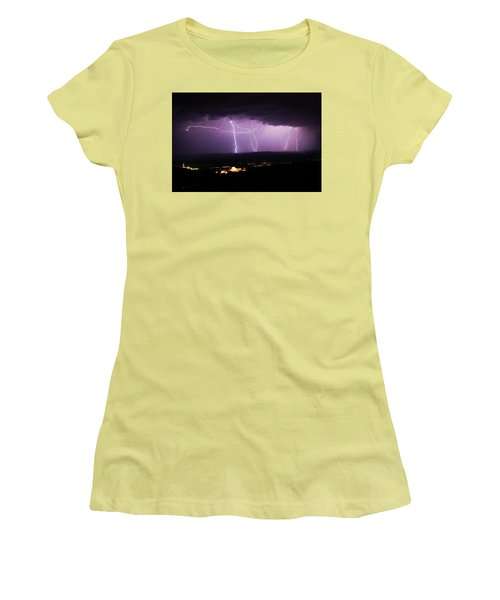 Horizontal And Vertical Lightning Women's T-Shirt (Junior Cut) by Ron Chilston