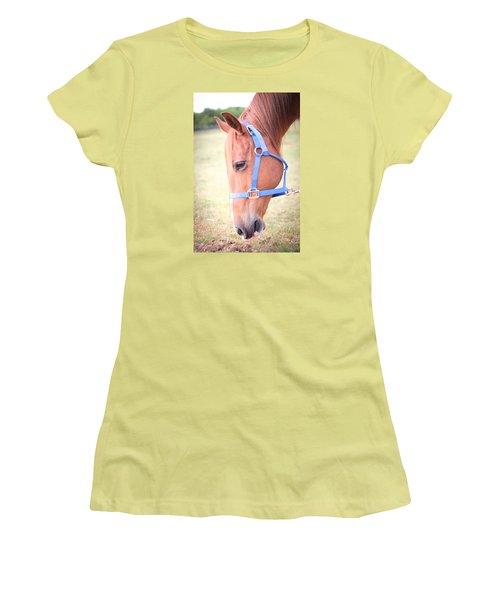 Horse Eating Grass Women's T-Shirt (Junior Cut) by Kelly Hazel