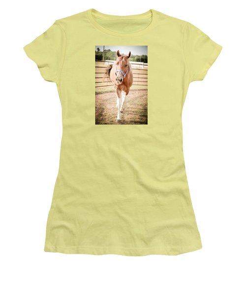 Horse Walking Toward Camera Women's T-Shirt (Junior Cut) by Kelly Hazel