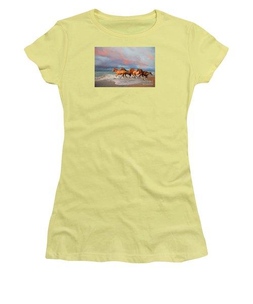 Horses At The Beach Women's T-Shirt (Junior Cut) by Mim White
