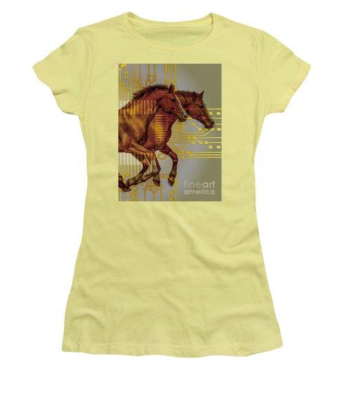 The Sound Of The Horses. Women's T-Shirt (Junior Cut) by Moustafa Al Hatter