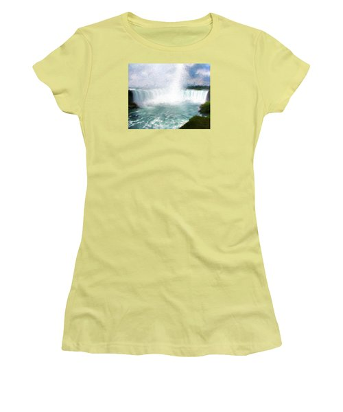 Women's T-Shirt (Junior Cut) featuring the photograph Horseshoe Falls - Niagara Falls by John Freidenberg
