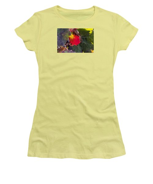 Women's T-Shirt (Junior Cut) featuring the photograph Hot Autumn Colors In The Vineyard by Arik Baltinester