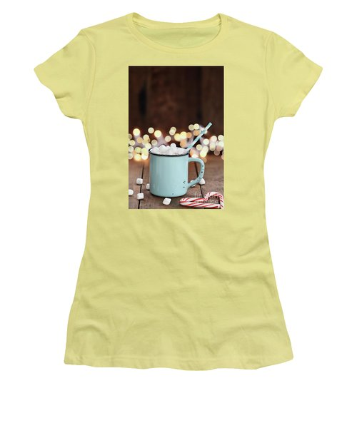 Women's T-Shirt (Junior Cut) featuring the photograph Hot Cocoa With Mini Marshmallows by Stephanie Frey