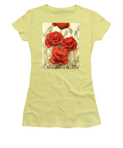 Women's T-Shirt (Junior Cut) featuring the painting Hot Red Poppies by Inese Poga