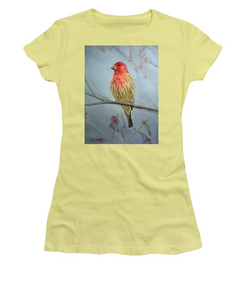 House Finch Women's T-Shirt (Junior Cut) by Marna Edwards Flavell