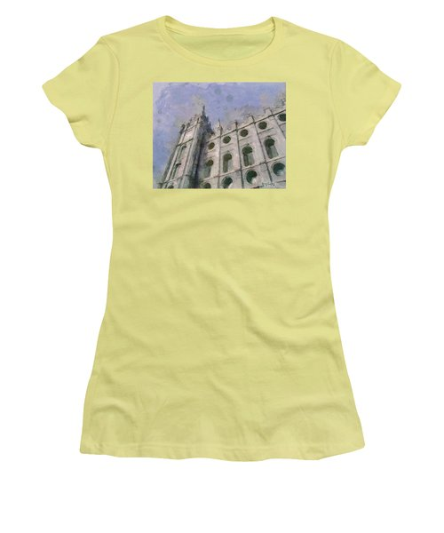 Women's T-Shirt (Junior Cut) featuring the painting House Of Faith by Greg Collins