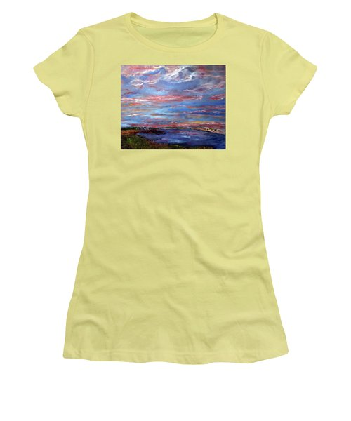 Women's T-Shirt (Junior Cut) featuring the painting House On The Point Sunset by Michael Helfen