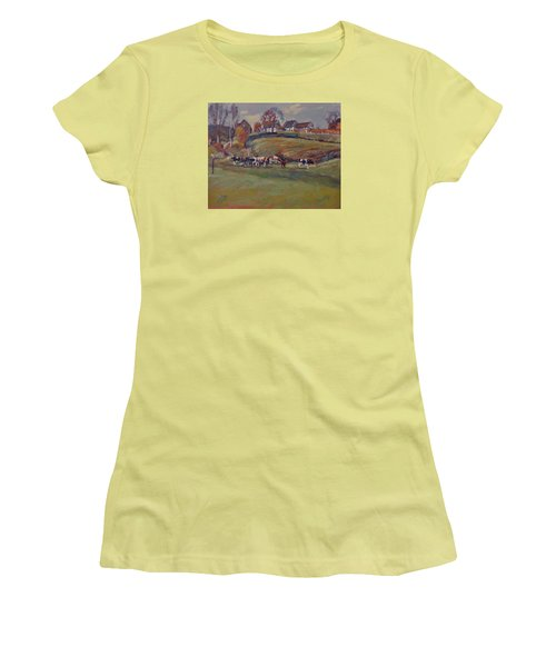 Women's T-Shirt (Junior Cut) featuring the painting Houses And Cows In Schweiberg by Nop Briex
