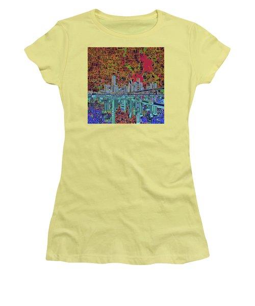 Houston Skyline Abstract 3 Women's T-Shirt (Junior Cut) by Bekim Art