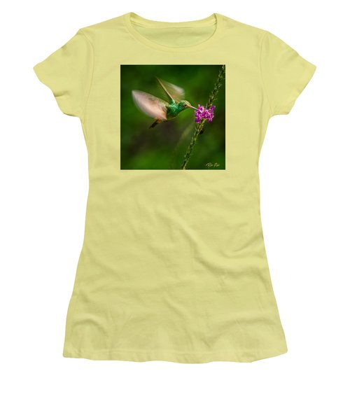 Women's T-Shirt (Athletic Fit) featuring the photograph Hovering In The Vervain  by Rikk Flohr