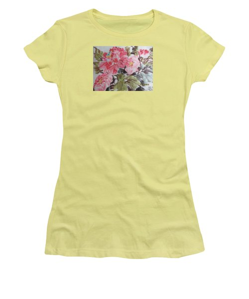 Women's T-Shirt (Junior Cut) featuring the painting Hp11192015-0757 by Dongling Sun