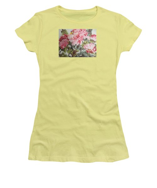 Women's T-Shirt (Junior Cut) featuring the painting Hp11192015-0769 by Dongling Sun