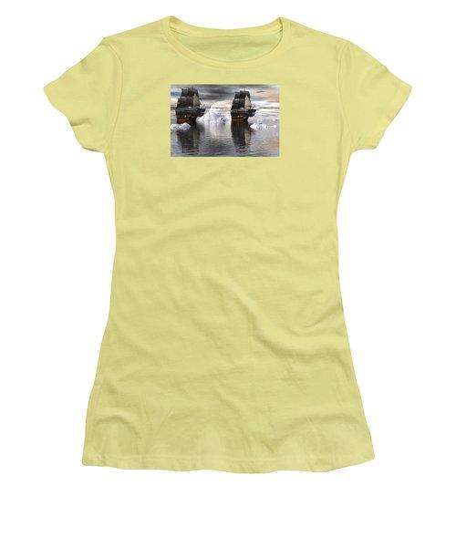 Women's T-Shirt (Junior Cut) featuring the digital art Hudson Bay Ships by Claude McCoy