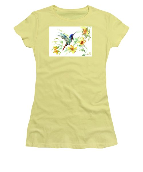 Hummibgbird And Yellow Flowers Women's T-Shirt (Athletic Fit)