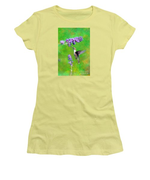 Humming Bird Visit Women's T-Shirt (Junior Cut) by Lila Fisher-Wenzel