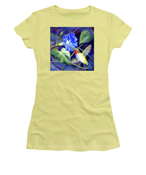 Women's T-Shirt (Junior Cut) featuring the painting Hummingbird Delight by Bonnie Rinier