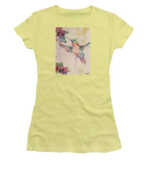 Women's T-Shirt (Junior Cut) featuring the painting Hummingbird by Denise Tomasura