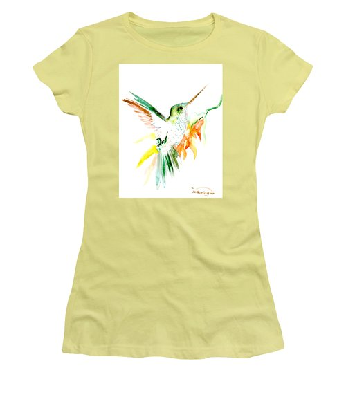 Hummingbird Green Orange Red Women's T-Shirt (Athletic Fit)