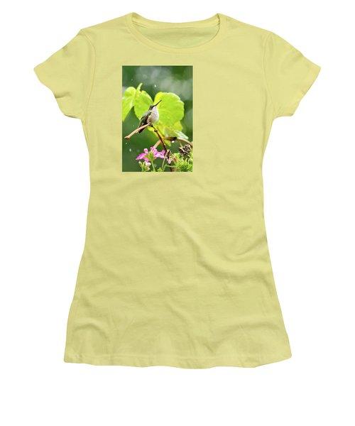 Hummingbird On Vine In The Rain Women's T-Shirt (Athletic Fit)