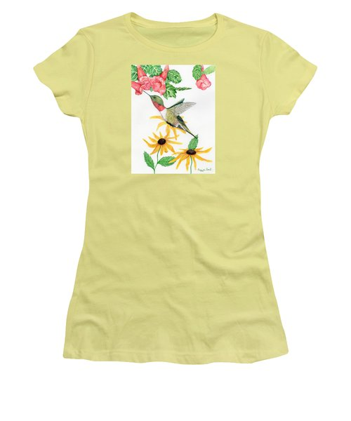 Women's T-Shirt (Junior Cut) featuring the painting Hummingbird by Peggy A Borel