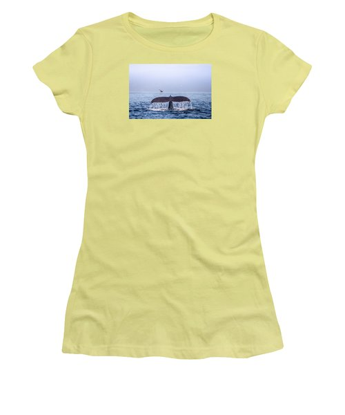 Humpback Whale Flukes Women's T-Shirt (Junior Cut) by Janis Knight