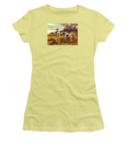 Women's T-Shirt (Junior Cut) featuring the digital art Hunting Dogs No1 by Charmaine Zoe