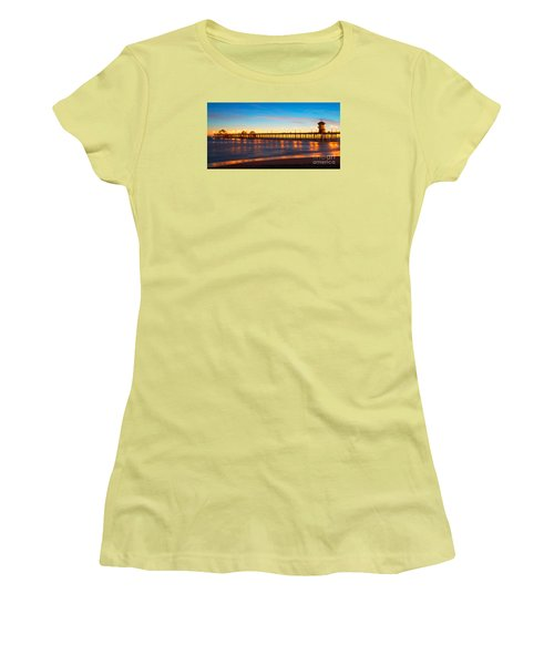 Huntington Beach Pier - Twilight Women's T-Shirt (Athletic Fit)