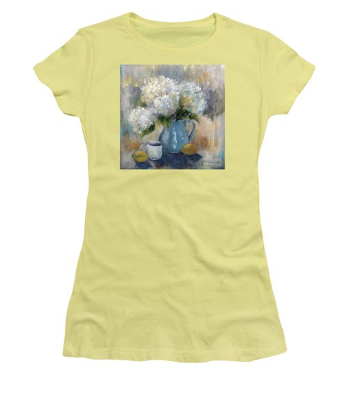 Hydrangea Morning Women's T-Shirt (Junior Cut) by Jennifer Beaudet