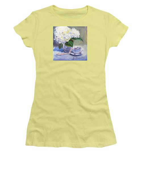Women's T-Shirt (Junior Cut) featuring the painting Hydrangeas With Pearls  by Jennifer Beaudet