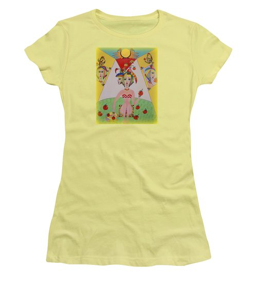 Women's T-Shirt (Junior Cut) featuring the painting I Don't Like This Apple by Marie Schwarzer