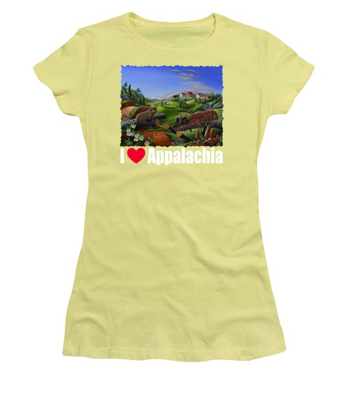 I Love Appalachia T Shirt - Spring Groundhog - Country Farm Landscape Women's T-Shirt (Junior Cut) by Walt Curlee
