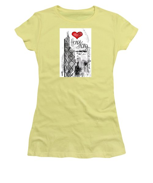 I Love Hong Kong  Women's T-Shirt (Junior Cut) by Sladjana Lazarevic