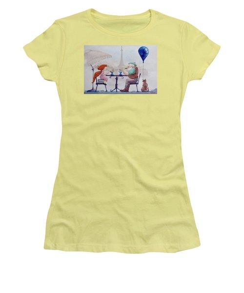 Women's T-Shirt (Junior Cut) featuring the painting I Love Paris Grandpa by Geni Gorani