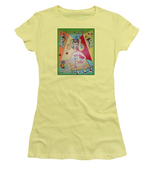 Women's T-Shirt (Junior Cut) featuring the painting I Love This Cherry by Marie Schwarzer