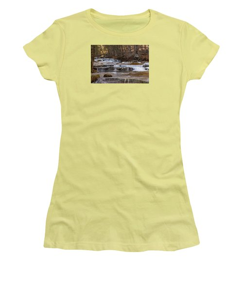 Ice On Fall Stream Women's T-Shirt (Athletic Fit)