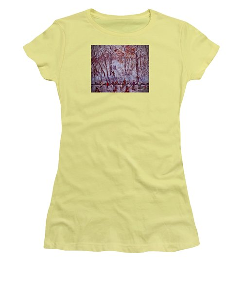 Ice Skating On Hardy Pond Women's T-Shirt (Junior Cut) by Rita Brown