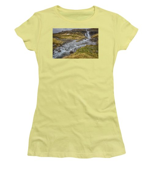 Women's T-Shirt (Junior Cut) featuring the tapestry - textile Iceland Fjord by Kathy Adams Clark
