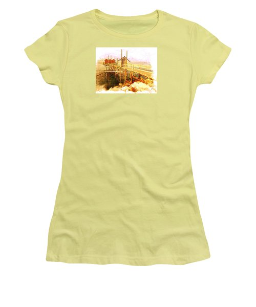 Women's T-Shirt (Junior Cut) featuring the digital art Il Grande Trabucco - Trebuchet Fishing by Zedi