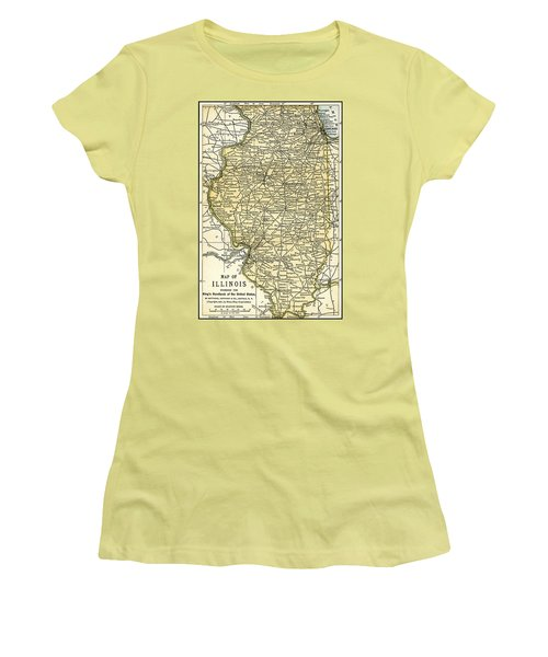 Illinois Antique Map 1891 Women's T-Shirt (Junior Cut) by Phil Cardamone