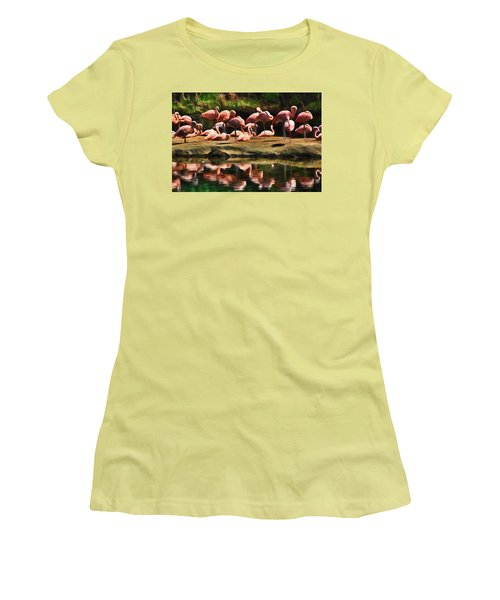 Pink Flamingo Color Women's T-Shirt (Junior Cut) by Terry Cork