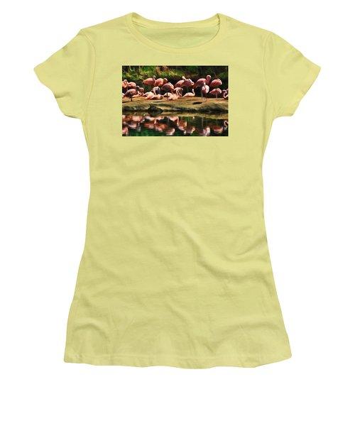 Pink Flamingo Color Women's T-Shirt (Athletic Fit)