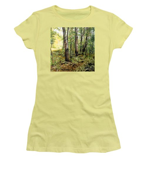 Women's T-Shirt (Athletic Fit) featuring the painting In The Shaded Forest  by Laurie Rohner