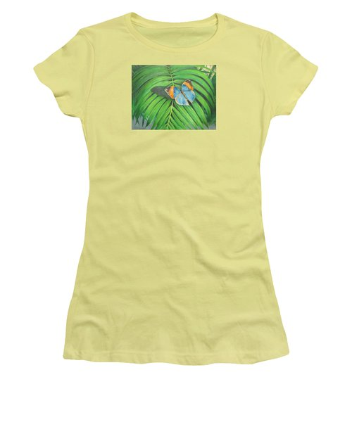 Women's T-Shirt (Junior Cut) featuring the painting Indian Head Butterfly by Oz Freedgood
