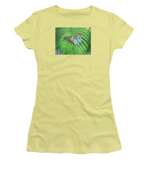 Indian Head Butterfly Women's T-Shirt (Junior Cut) by Oz Freedgood