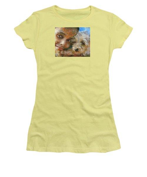 Women's T-Shirt (Junior Cut) featuring the painting Innocent Love by Dragica  Micki Fortuna