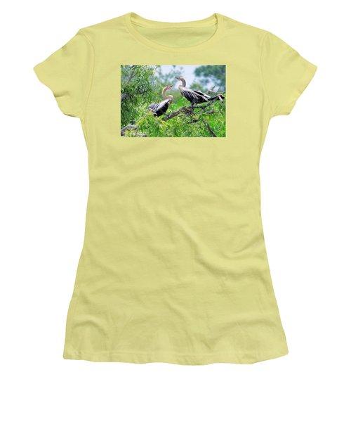 Interacting Young Anhingas Women's T-Shirt (Junior Cut) by Rosalie Scanlon